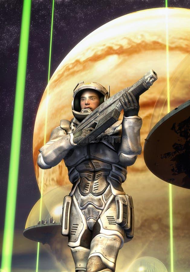 futurystyczni żołnierza starship kawalerzyści ilustracja wektor