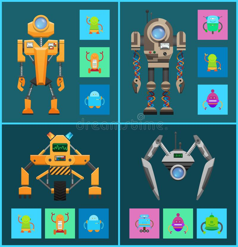Futurystyczni cyborgi Ustawiający, Sztuczna inteligencja royalty ilustracja
