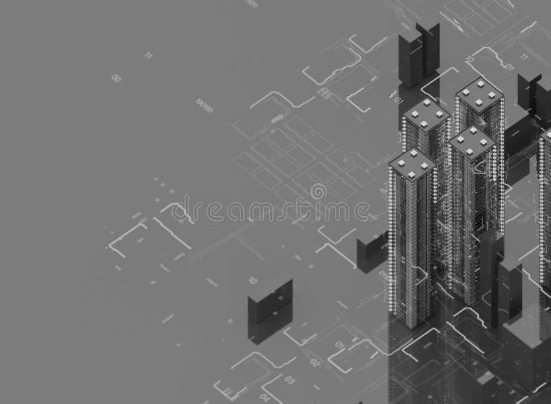 Futurystyczni drapacze chmur w przepływie Przepływ cyfrowi dane miasto przyszłości zlokalizowane w naszym zastępuje domy kuli gwo royalty ilustracja