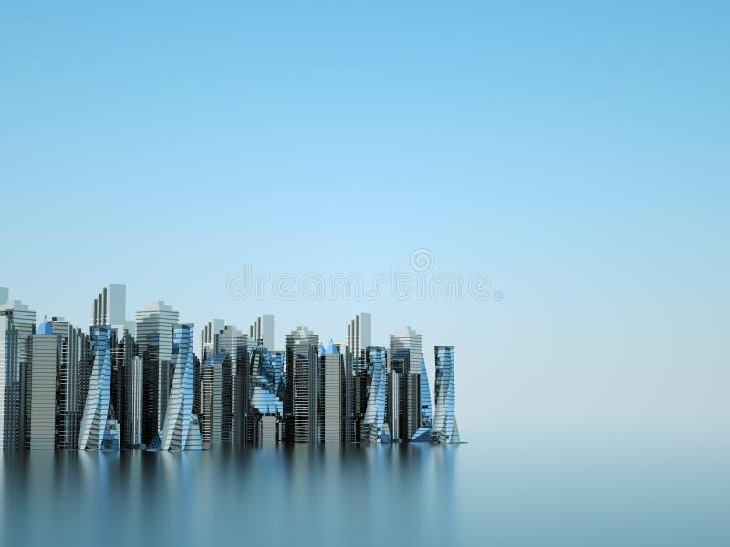 Futurystyczni drapacze chmur w przepływie Przepływ cyfrowi dane miasto przyszłości zlokalizowane w naszym zastępuje domy kuli gwo ilustracja wektor