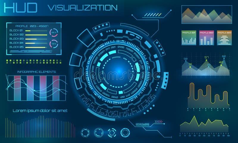 Futurystyczni HUD projekta elementy Infographic lub technologia interfejs dla ewidencyjnego unaocznienia ilustracji