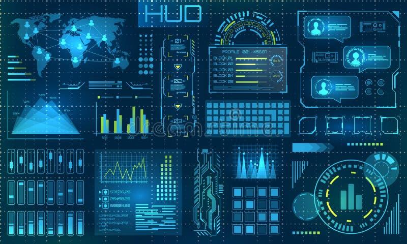 Futurystyczni HUD projekta elementy Infographic lub technologia interfejs dla ewidencyjnego unaocznienia royalty ilustracja