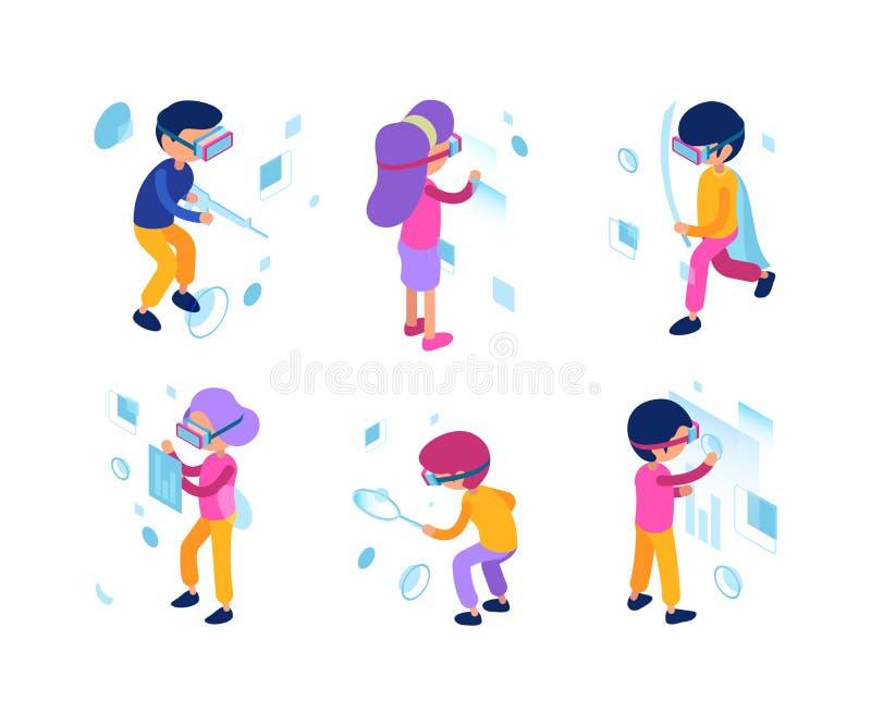 Futurystyczni ludzie Rzeczywistości wirtualnej augmentacji persons nowej technologii kierowników męscy żeńscy przyszłościowi prac ilustracja wektor