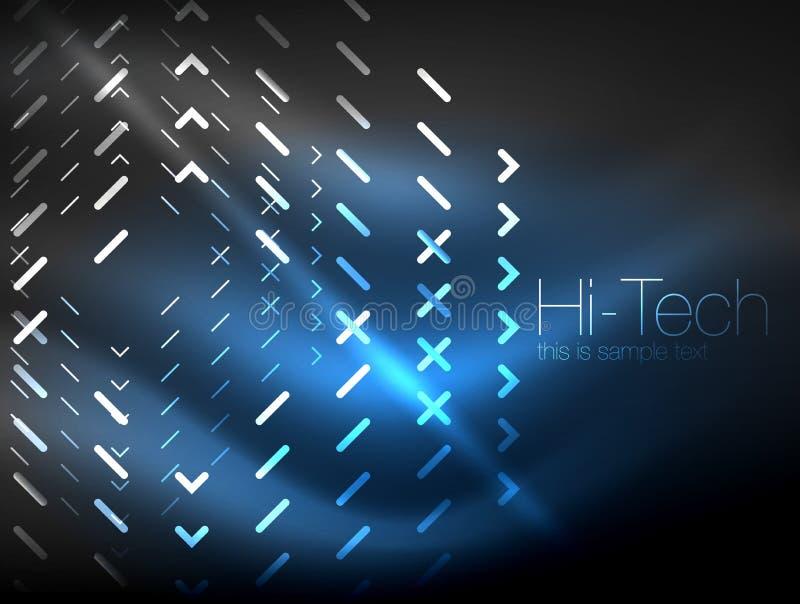 Futurystyczni neonowi światła na ciemnym tle, cyfrowi abstrakcjonistyczni techno tła ilustracji