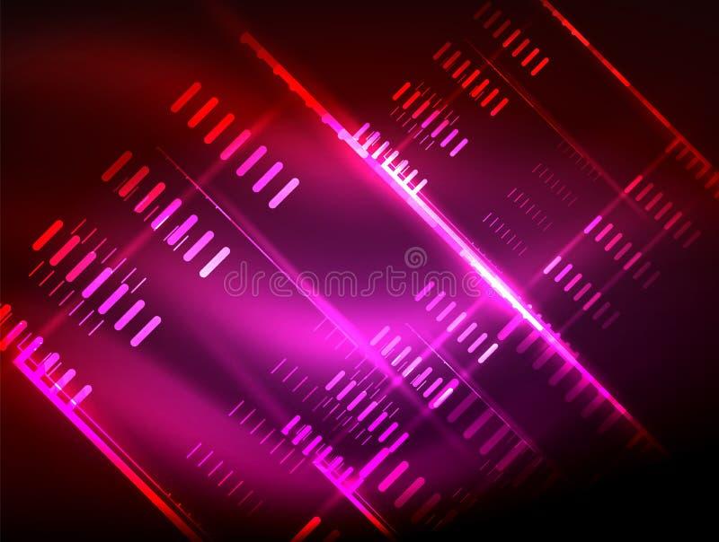 Futurystyczni neonowi światła na ciemnym tle, cyfrowi abstrakcjonistyczni techno tła ilustracja wektor