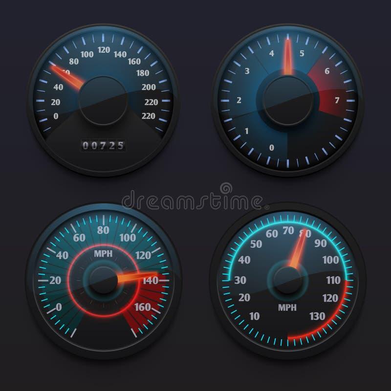 Futurystyczni samochodowi szybkościomierze, prędkość wskaźniki z pointerem dla pojazd deski rozdzielczej odizolowywali wektoru se royalty ilustracja