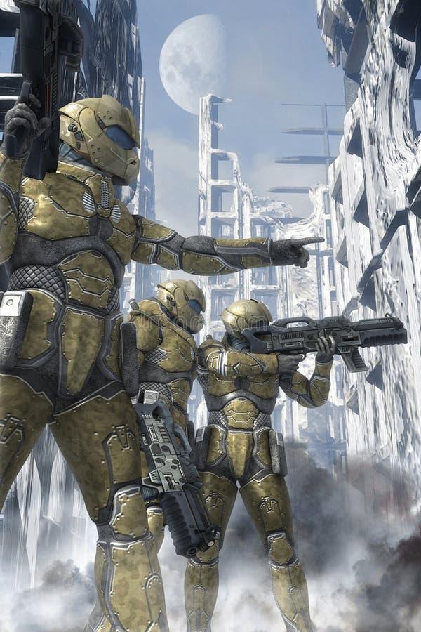 Futurystyczny żołnierz przestrzeni leśniczy ilustracja wektor