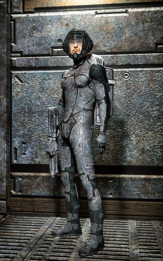 Futurystyczny żołnierz wśrodku statku kosmicznego ilustracja wektor