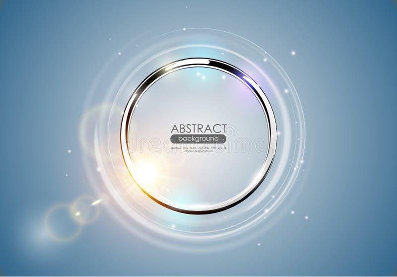 Futurystyczny abstrakcjonistyczny metalu pierścionku błękita tło Chromu połysku round rama z lekkim okręgu i słońca obiektywem mi ilustracja wektor