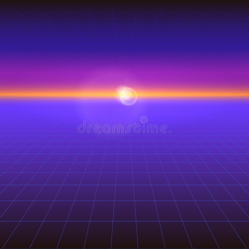 Futurystyczny abstrakcjonistyczny tło z słońcem na horyzoncie Sci fi fiołkowy retro gradient, rocznika 80's styl royalty ilustracja