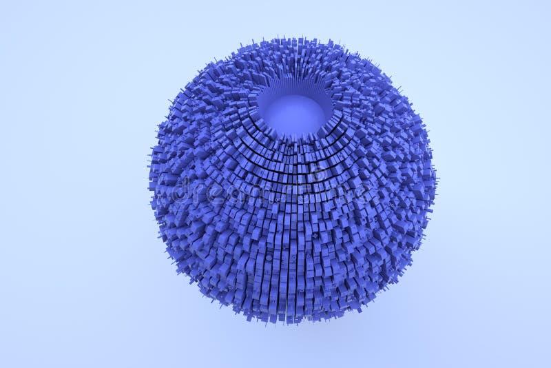 Futurystyczny abstrakta 3D budynek w ruchu Ładny 3D rendering ilustracji
