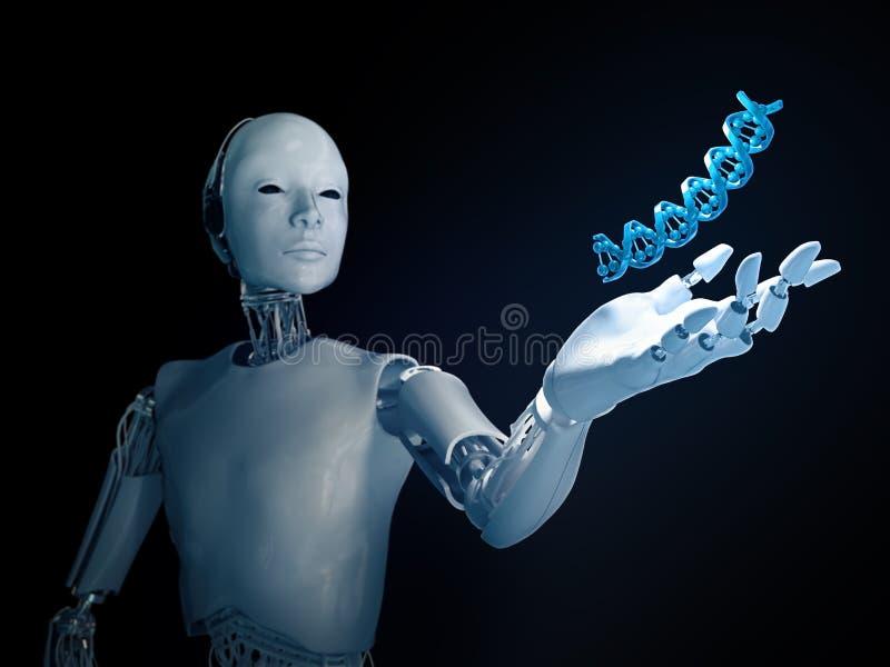 Futurystyczny android z DNA pasemkiem ilustracja wektor