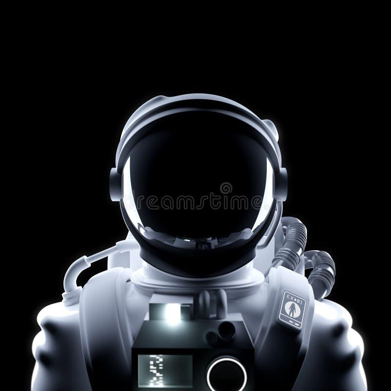 Futurystyczny astronauty Astronautycznego kostiumu portret ilustracji