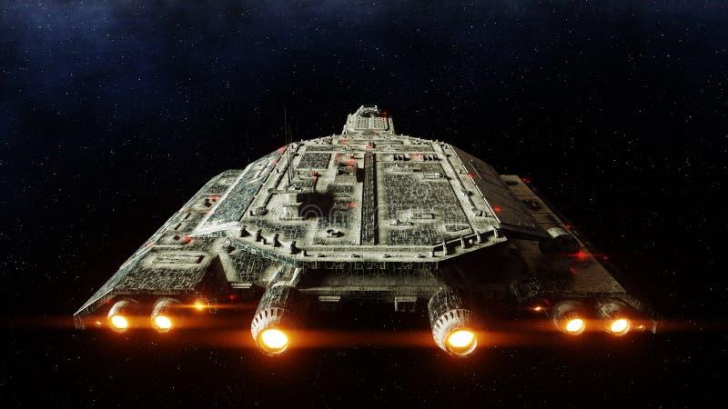 Futurystyczny astronautyczny statek wewnątrz Ziemski planety wonderfull widok realistyczna metal powierzchnia świadczenia 3 d royalty ilustracja