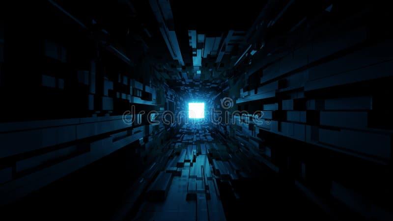 Futurystyczny astronautyczny tunelowy korytarz z ładnym rozjarzonym połysku tła 3d renderingiem ilustracji