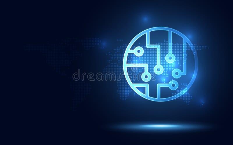 Futurystyczny błękitny obwód deski technologii abstrakcjonistyczny tło Sztucznej inteligencji cyfrowa transformacja i duży dane p ilustracji