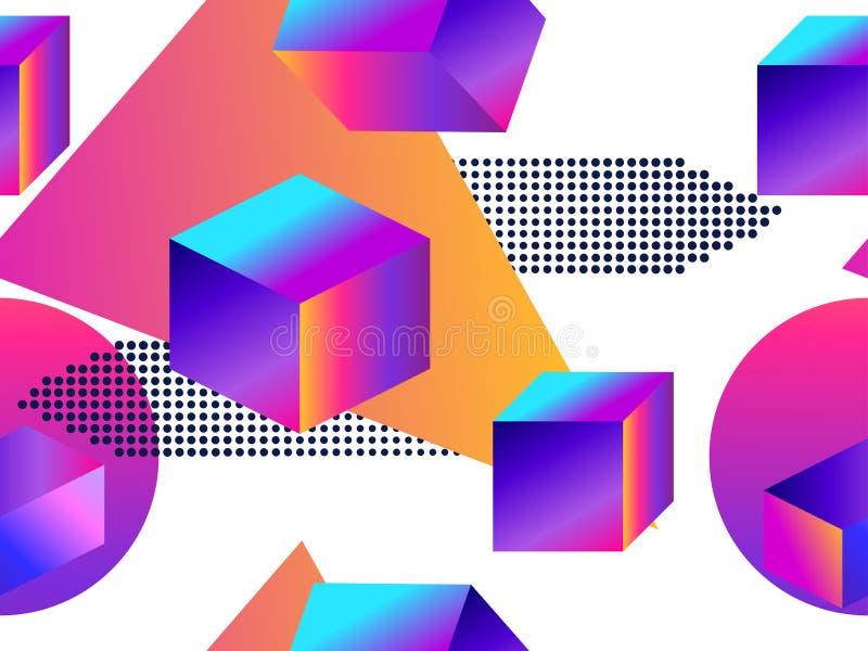 Futurystyczny bezszwowy wzór z geometrycznymi kształtami Gradient z purpurowymi brzmieniami 3d isometric kształt Synthwave retro  ilustracji