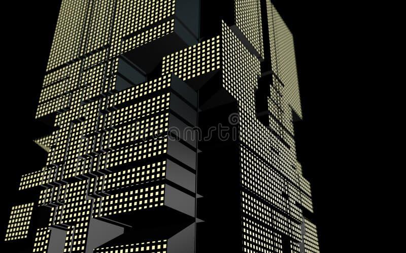 Futurystyczny budynek abstrakcjonistyczny geometryczny kształt przy nocą ilustracji