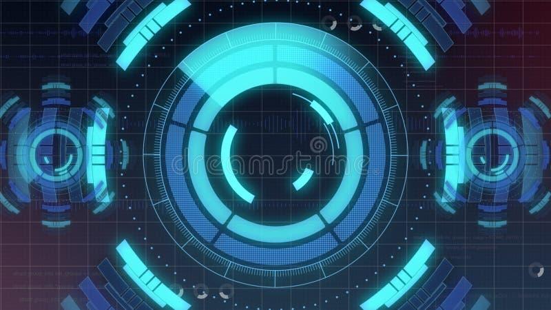 Futurystyczny cyfrowy HUD technologii interfejs użytkownika, ekran radaru z różnorodną technologia elementów komunikacją biznesow ilustracja wektor
