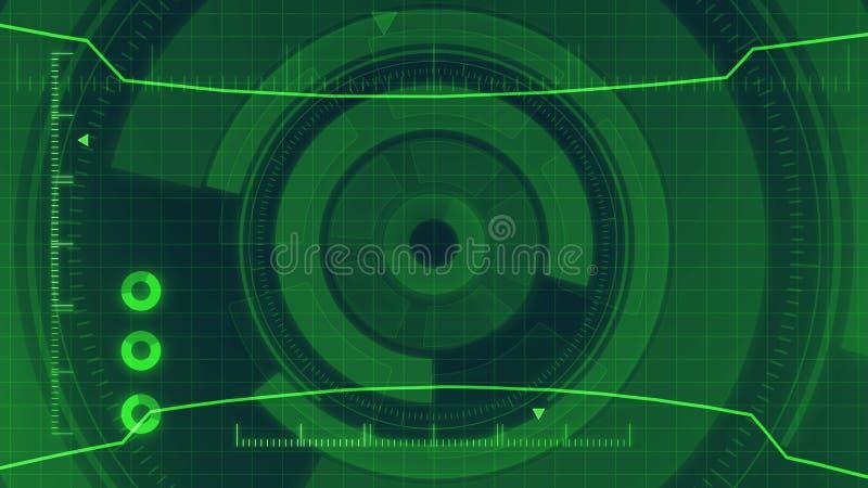 Futurystyczny cyfrowy HUD technologii interfejs użytkownika, ekran radaru z różnorodną technologia elementów komunikacją biznesow royalty ilustracja