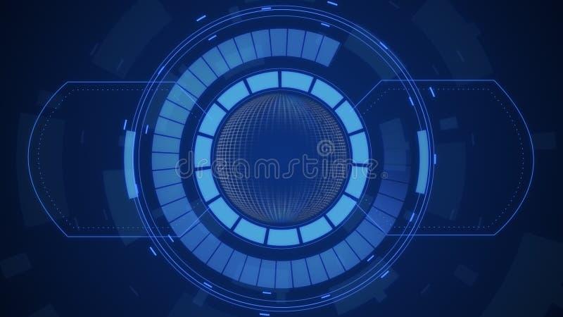 Futurystyczny cyfrowy HUD technologii interfejs użytkownika, ekran radaru z różnorodną technologia elementów komunikacji biznesow ilustracja wektor