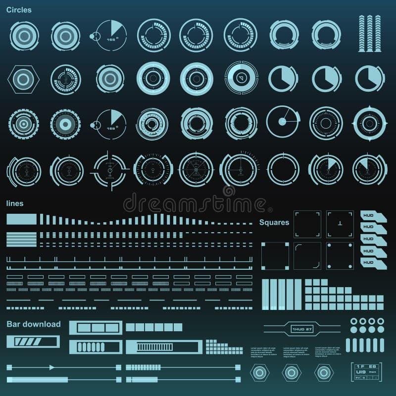 Futurystyczny czarny i biały wirtualny graficzny dotyka interfejs użytkownika HUD ilustracji