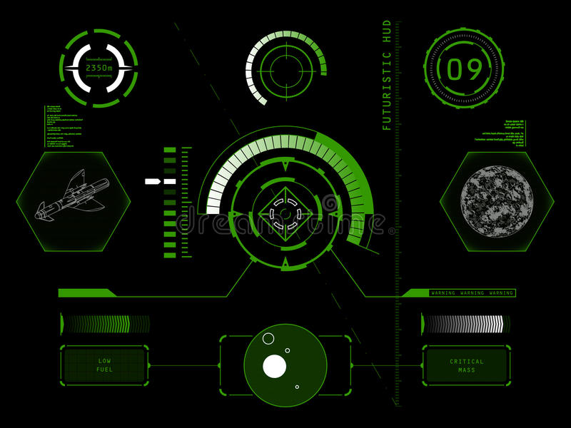 Futurystyczny dotyka ekranu interfejs użytkownika HUD ilustracji