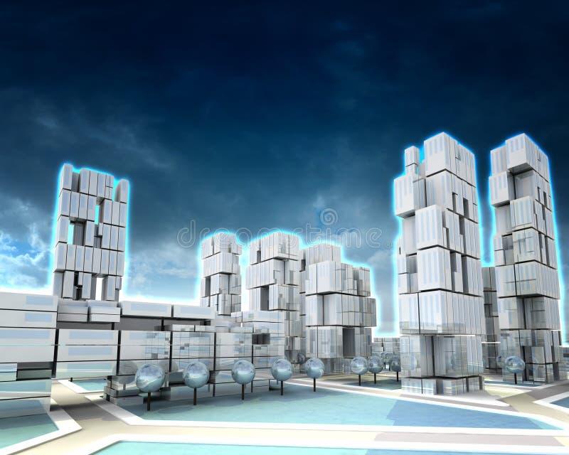 Futurystyczny drapacza chmur miasto z zima chmurnym zmierzchem ilustracji