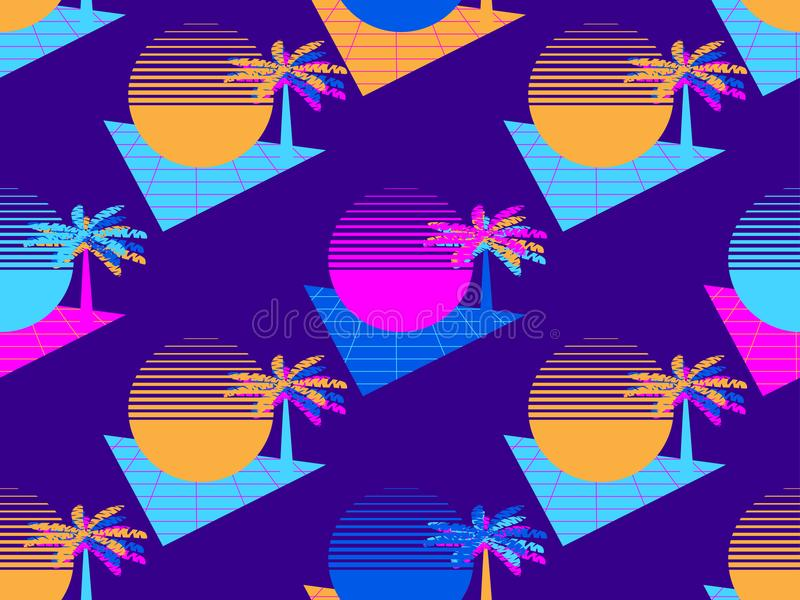 Futurystyczny drzewka palmowego i słońca bezszwowy wzór Synthwave tła 1980s retro styl Retrowave wektor royalty ilustracja