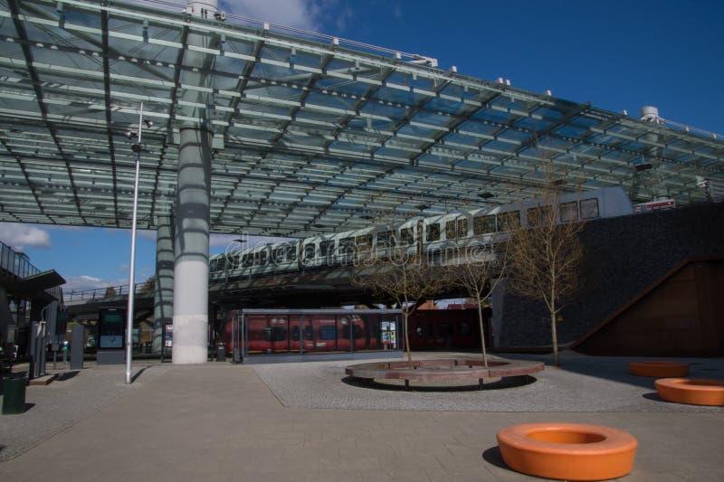 Futurystyczny dworzec, Flintholm, Kopenhaga, Dani obrazy royalty free