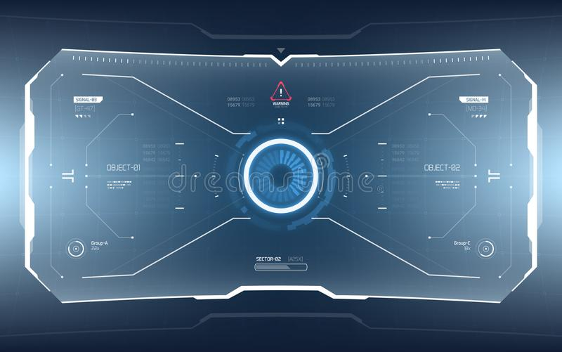 Futurystyczny fantastyka naukowa technologii HUD ekran ilustracji