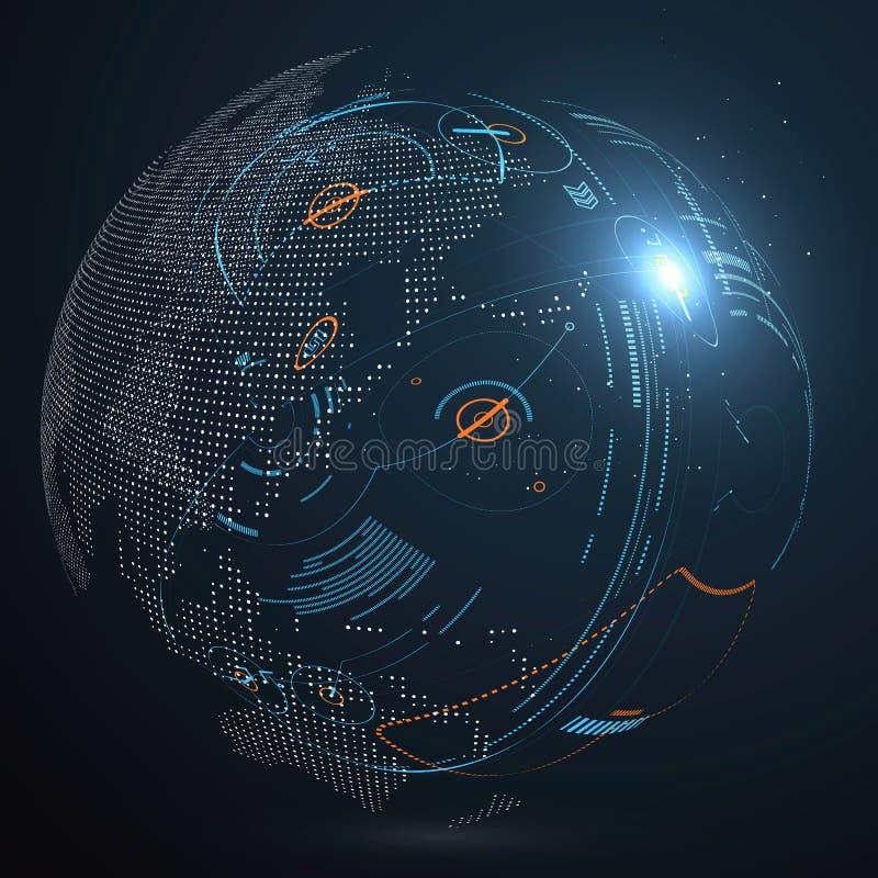 Futurystyczny globalizacja interfejs ilustracja wektor