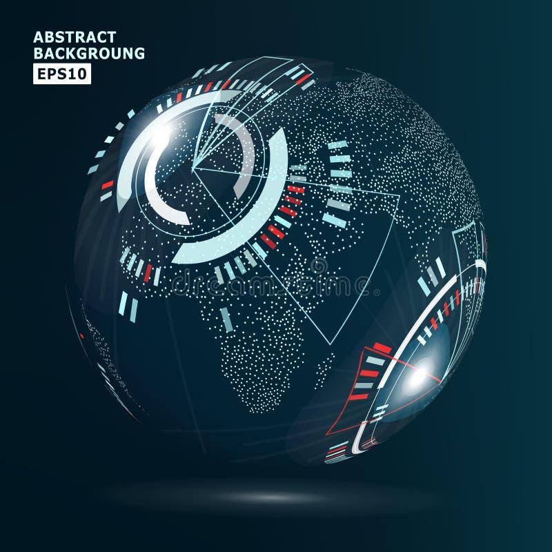 Futurystyczny globalizacja interfejs również zwrócić corel ilustracji wektora Technologii tło Dla Komputerowej grafiki biznesu I  royalty ilustracja