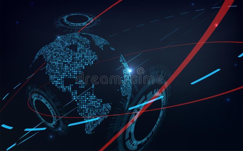 Futurystyczny globalizacja interfejs ilustracji