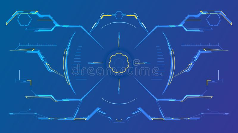 Futurystyczny hud interfejs z nowożytnym viewfinder ilustracja wektor