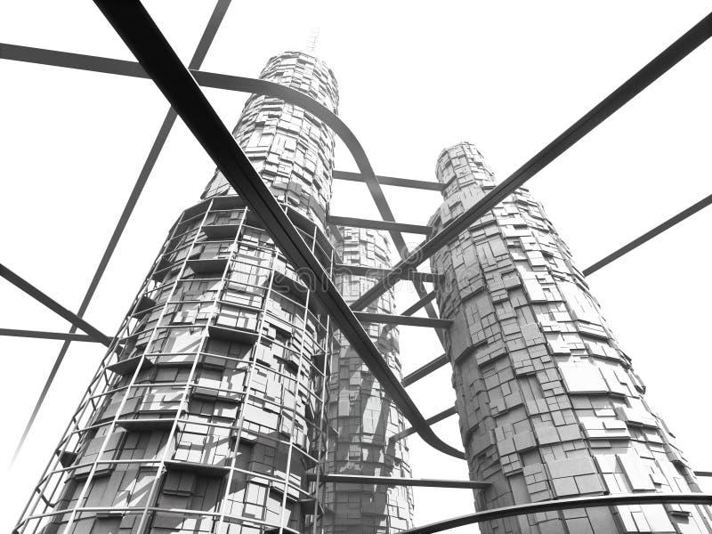 futurystyczny industries monorails drapacz chmur ilustracja wektor
