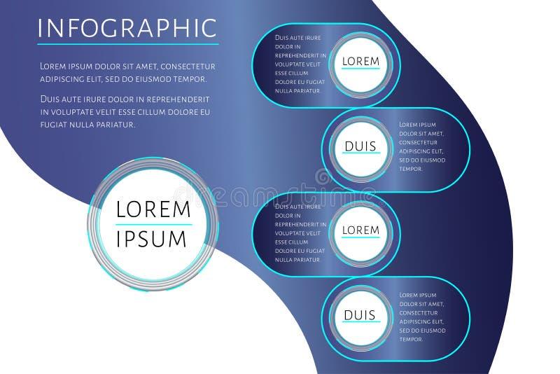 Futurystyczny Infographic szablon z 4 opcja krokami i miejsce dla teksta Turkus okrąża szablonu projekt dla raportu ilustracji