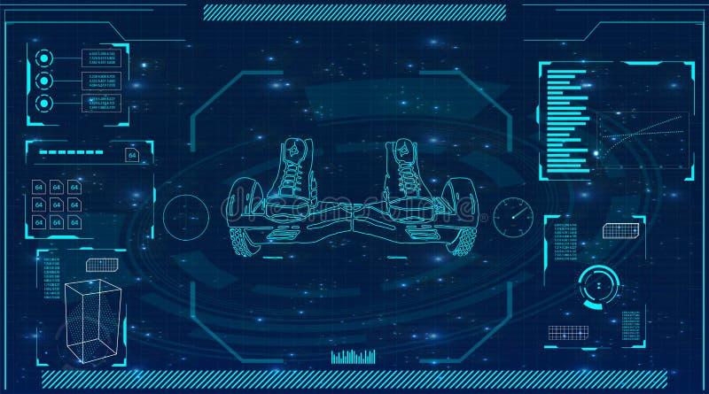 Futurystyczny interfejs użytkownika dla GyroScooter royalty ilustracja