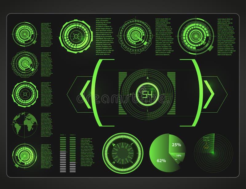 Futurystyczny interfejs użytkownika Hud tła kosmos elementy infographic Cyfrowi dane, biznesowy abstrakcjonistyczny tło ilustracji