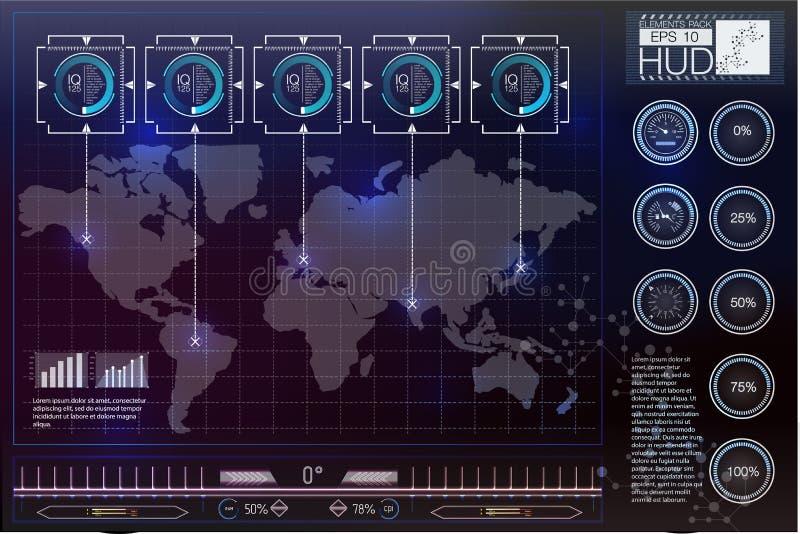 Futurystyczny interfejs użytkownika HUD UI Abstrakcjonistyczny wirtualny graficzny dotyka interfejs użytkownika Hud tła kosmos ilustracja wektor