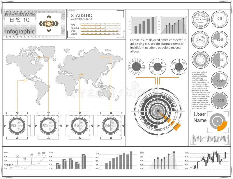 Futurystyczny interfejs użytkownika HUD UI Abstrakcjonistyczny wirtualny graficzny dotyka interfejs użytkownika Hud tła kosmos ilustracji