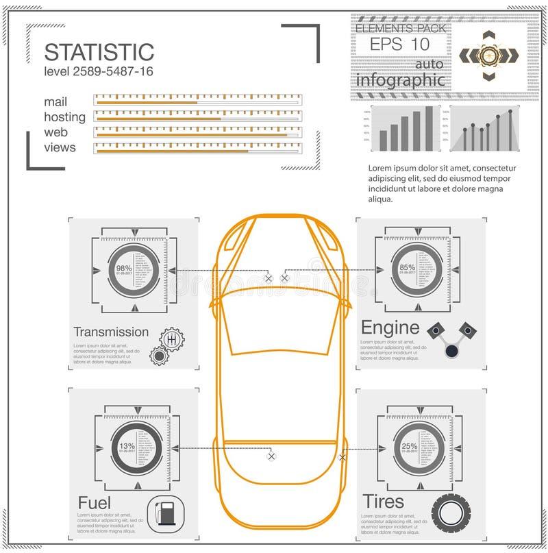 Futurystyczny interfejs użytkownika HUD UI Abstrakcjonistyczny wirtualny graficzny dotyka interfejs użytkownika Samochody infogra ilustracji