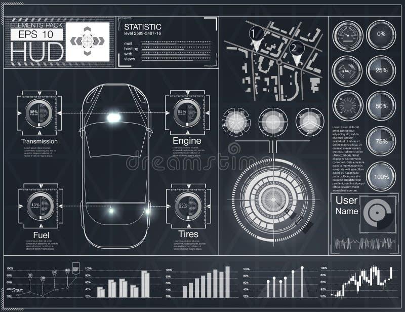 Futurystyczny interfejs użytkownika HUD UI Abstrakcjonistyczny wirtualny graficzny dotyka interfejs użytkownika Samochody infogra ilustracja wektor
