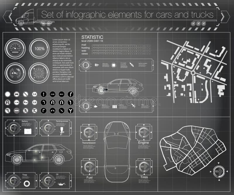 Futurystyczny interfejs użytkownika Infographics frachtowy transport i transport Szablon samochodu infographics Abstrakcjonistycz ilustracja wektor