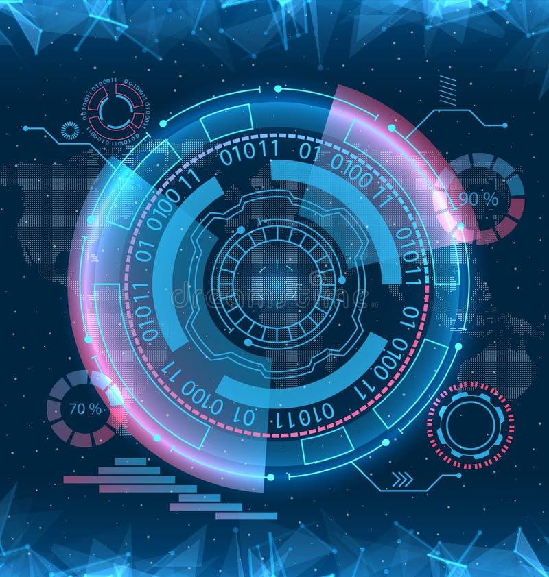 Futurystyczny interfejsu Hud projekt, Infographic elementy, technika i nauka, analiza temat ilustracja wektor
