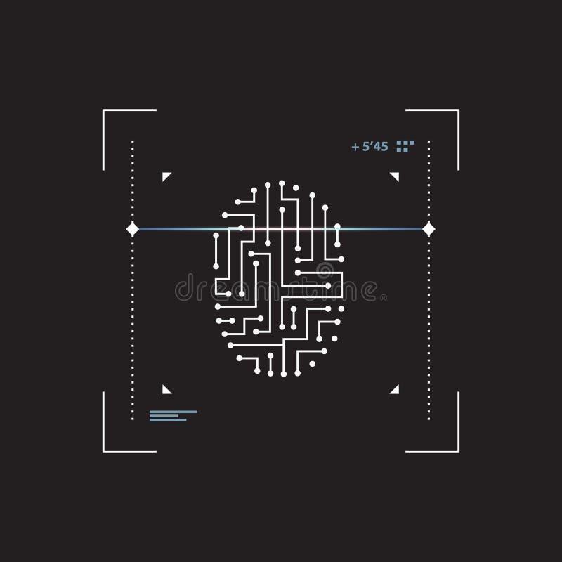 Futurystyczny interfejsu przeszukiwacza odcisk palca Ochrona i dostęp informacja przez biometrics identyfikaci ilustracji