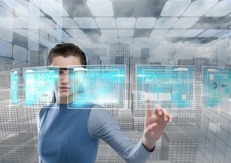 futurystyczny izbowy interfejs, futurystyczna kobieta ilustracja wektor
