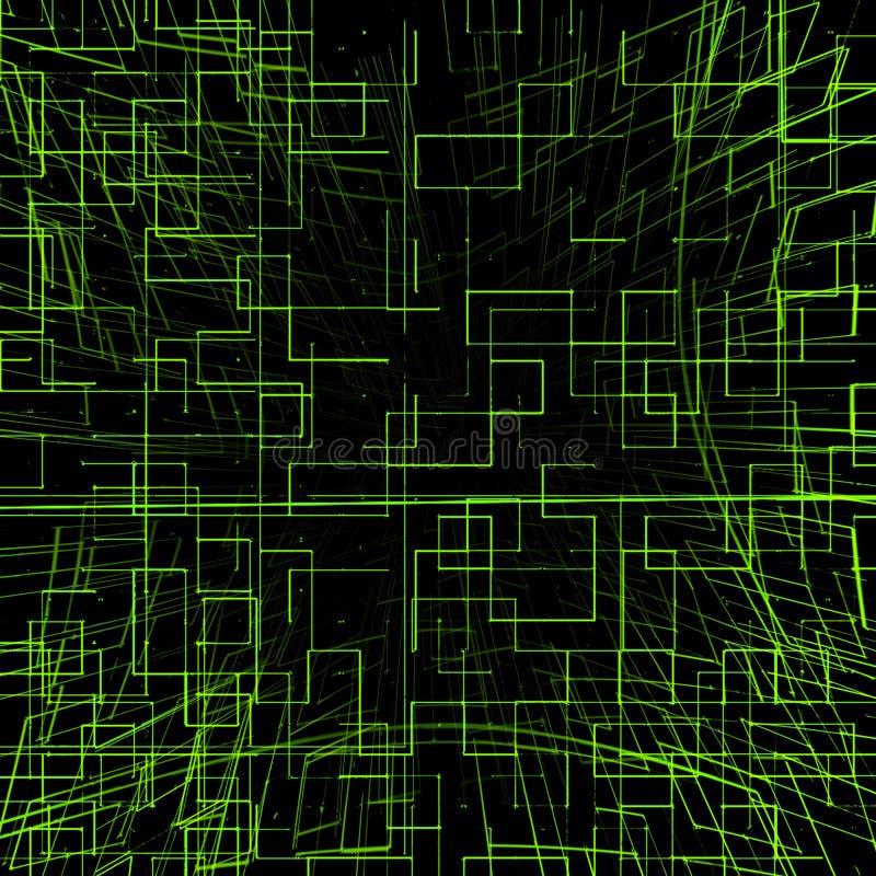 Futurystyczny jaskrawy - zielony technologii tło ilustracji