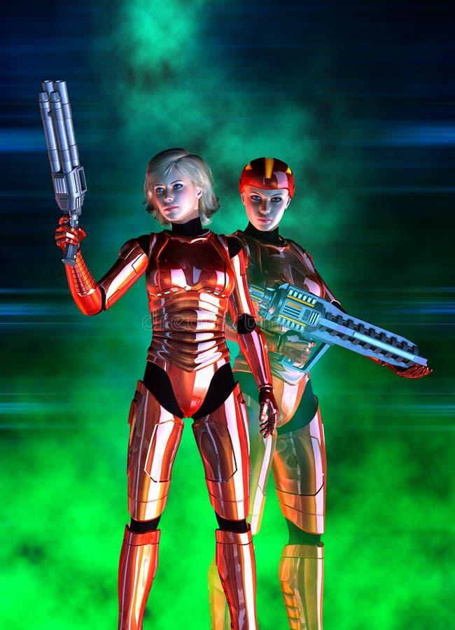 Futurystyczny kobieta żołnierz, czerwony kostium i hełm, 3d ilustracja ilustracji