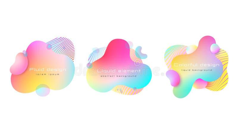 Futurystyczny kolorowy abstrakcjonistyczny ciekły elementu set Dynamical barwiona linia i formy abstrakcyjny t?o Wektor, EPS 10 royalty ilustracja